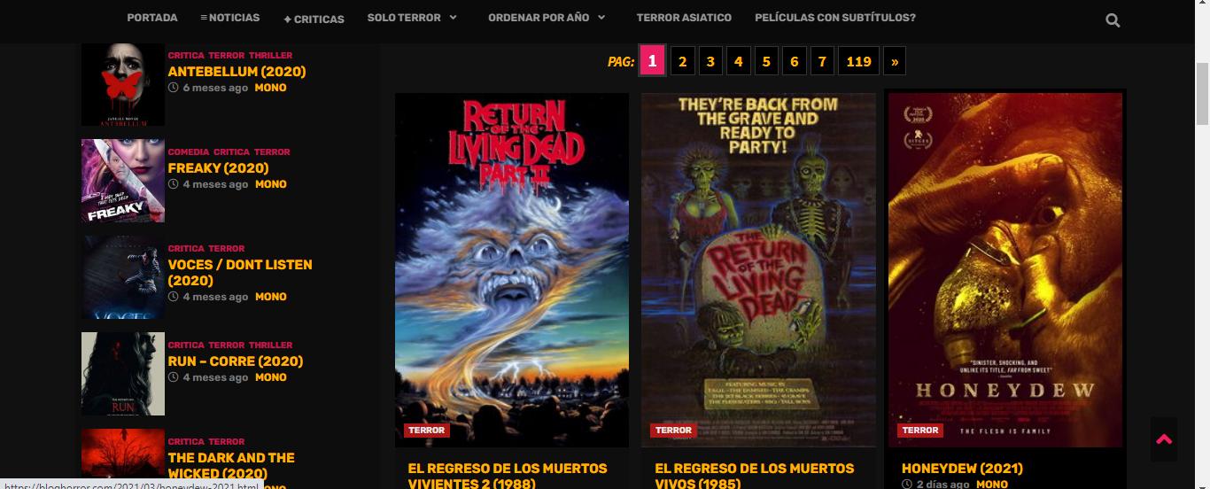 5 páginas web para ver películas de terror totalmente gratis
